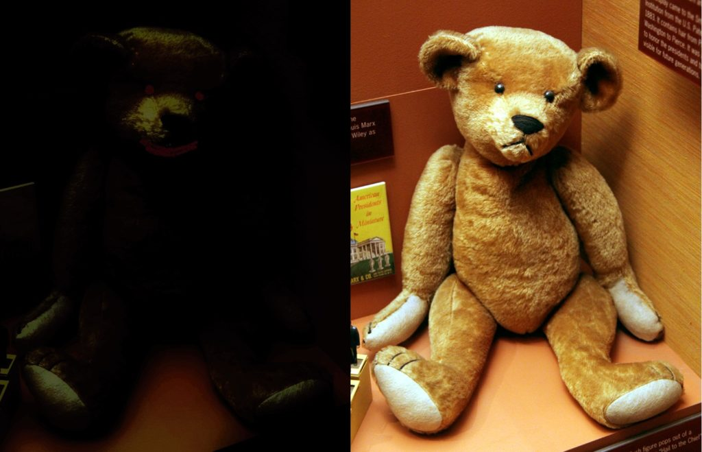 teddy bear bright and dark visual when playing horror games