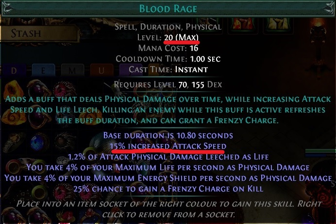 Blood Rage Gem Path of Exile