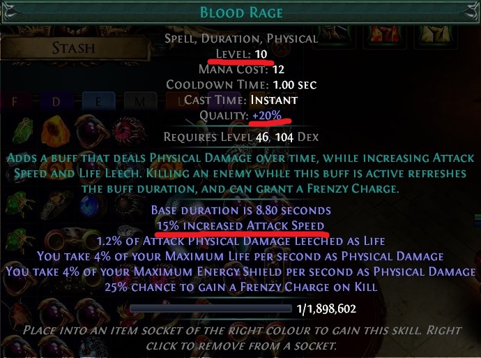 Blood Rage Gem with Quality Path of Exile