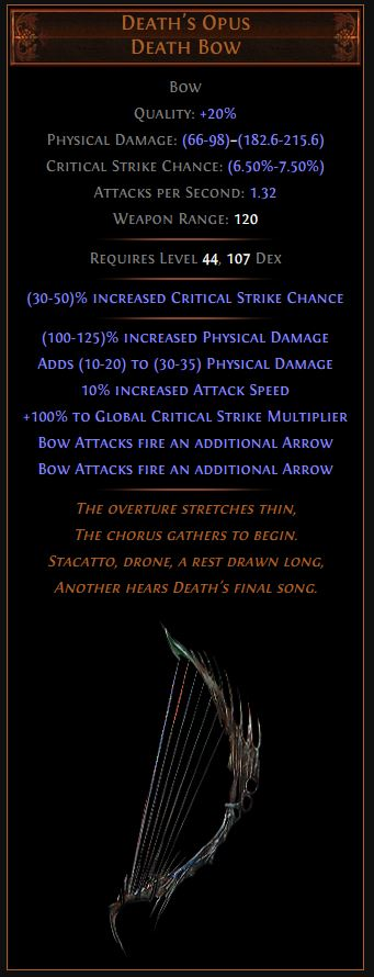 Death's Opus Path of Exile Best Leveling Unique