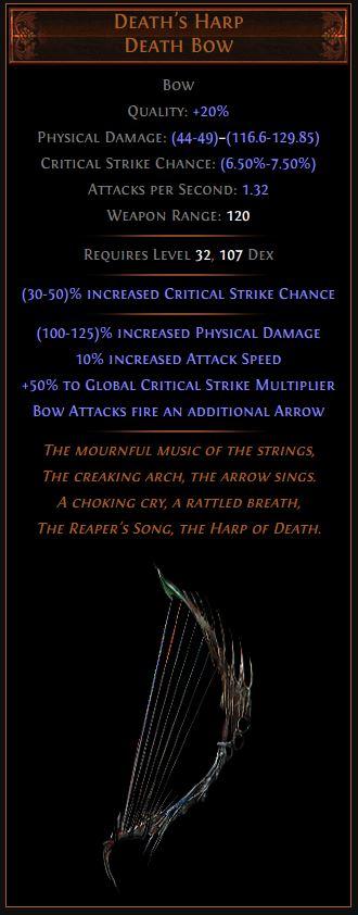 Death's Harp Path of Exile Best Leveling Unique 3.10