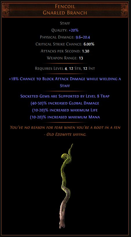 Fencoil Path of Exile Best Leveling Unique