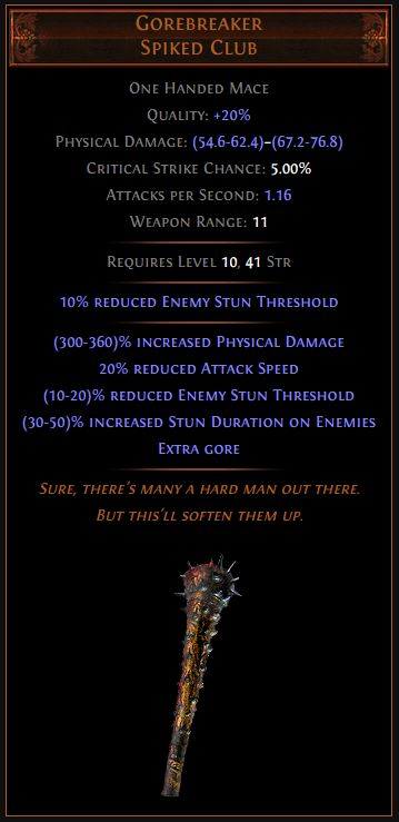 Gorebreaker Path of Exile Best Leveling Unique