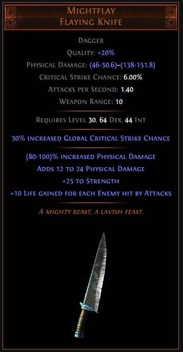 Mightflay Path of Exile Best Leveling Unique
