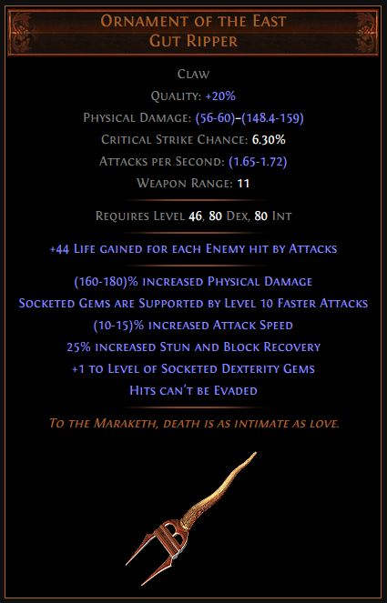 Ornament of the East Path of Exile Best Leveling Unique