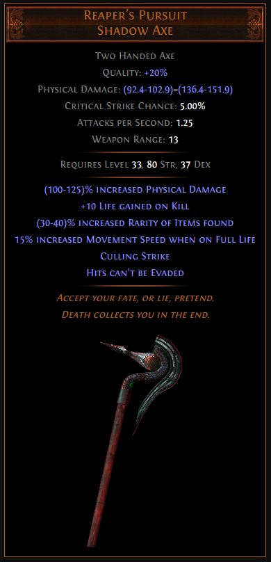 Reaper's Pursuit Path of Exile Best Leveling Unique
