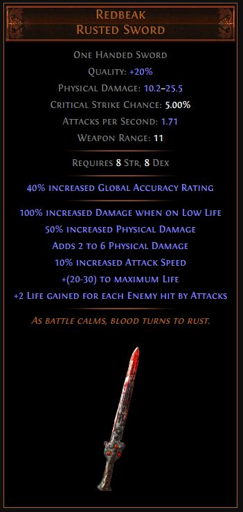 Redbeak Path of Exile Best Leveling Unique