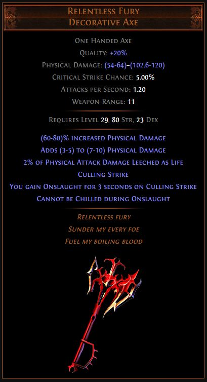 Relentless Fury Path of Exile Best Leveling Unique
