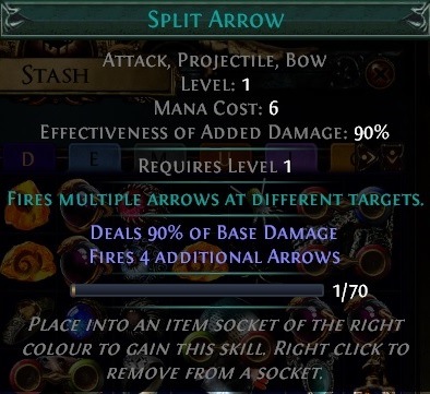 Split Arrow Gem Path of Exile