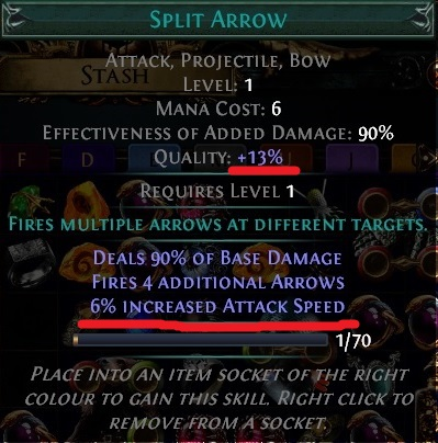 Split Arrow Gem with Quality Path of Exile