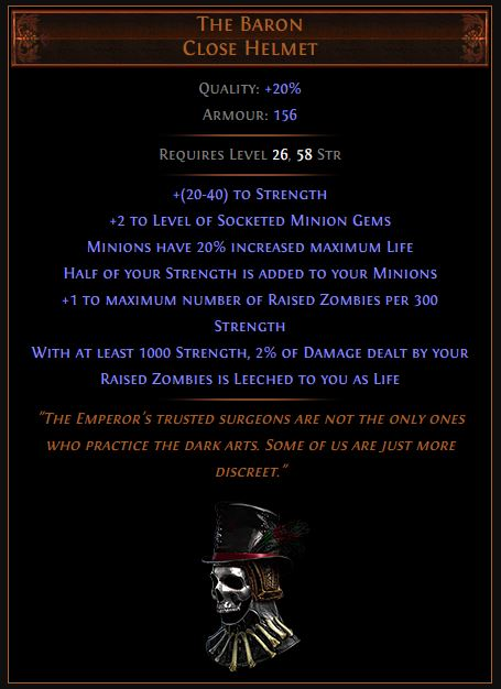 The Baron Path of Exile Best Leveling Unique